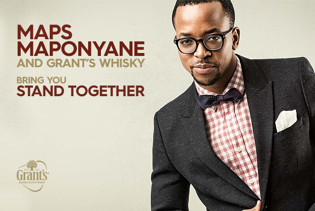 Maps Maponyane and Grant E2 80 99s whisky stand together